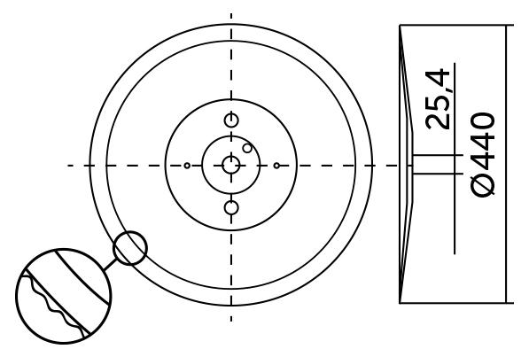 Cuchilla loncheadora tipo CFS Ø440